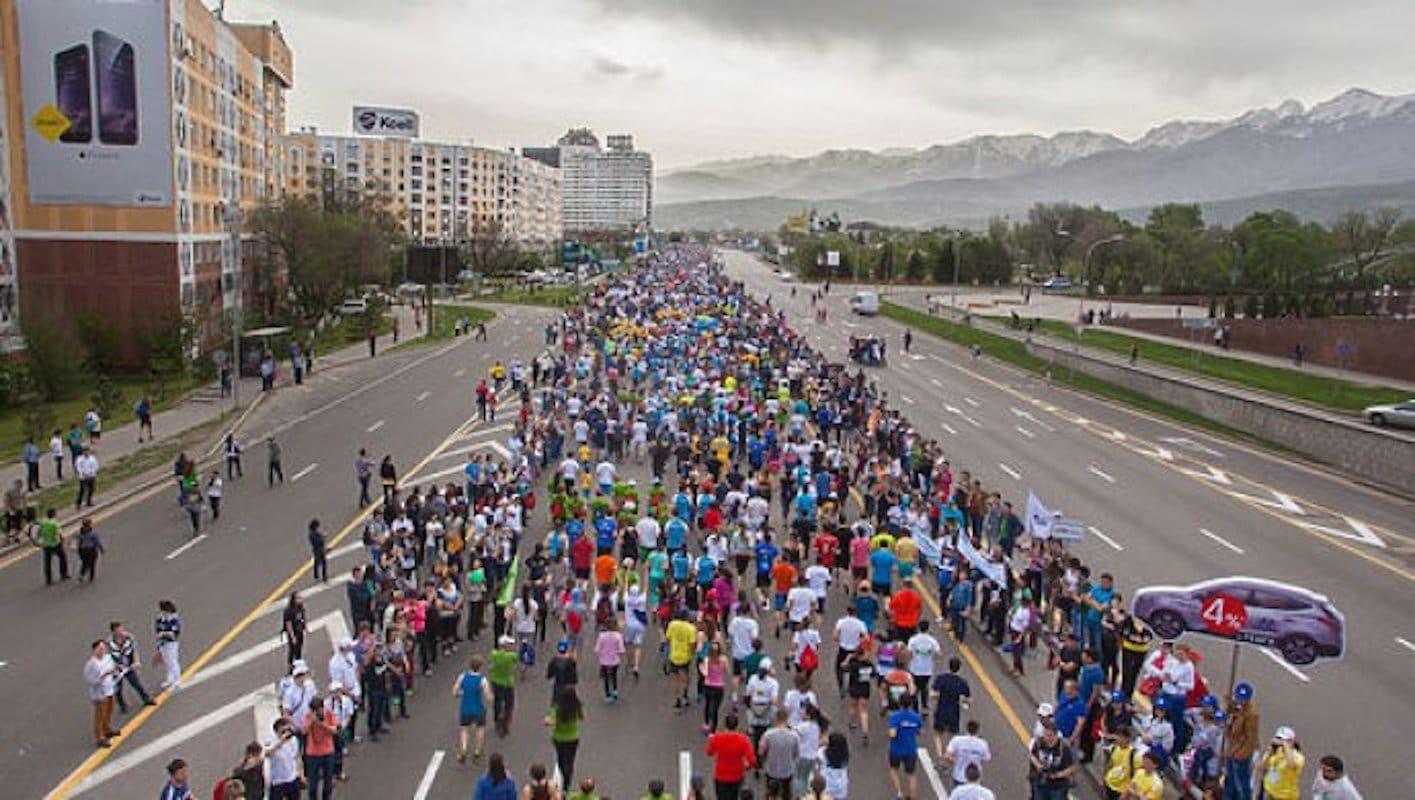 Алматы, дорога, марафон